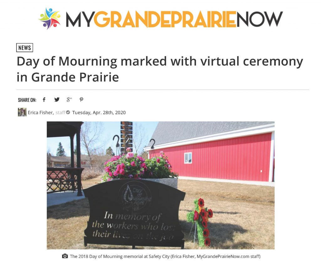 Day of Mourning marked with virtual ceremony in Grande Prairie